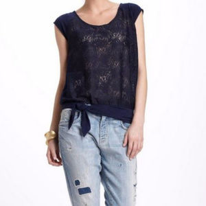 Anthro Vanessa Virginia XS Navy lace front blouse